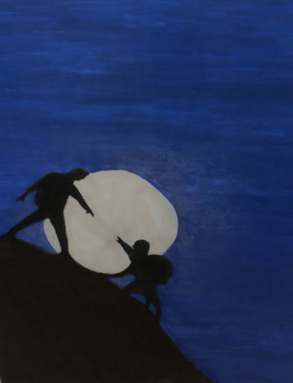 Mountain Moon Man - a painting by Annette Stickler
